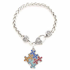Autism Awareness 4 Color Puzzle Piece Crystal Bracelet-NEW-FREE SHIPPING