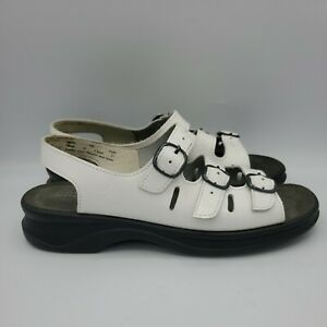 Women's Clark's Size 7 3 Strap Springers White Patent Leather Sandals Birk-type