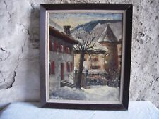 HUILE SUR TOILE SIGNEE - PAYSAGE HIVERNAL ENNEIGE -