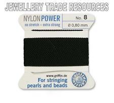 Puissance de nylon noir soyeux Chaîne Fil 0.80 mm stringing perles & perles Griffin 8