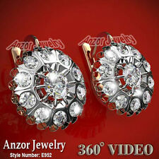 Russian style White Sapphire Extremely Beautiful Earrings 14k Rose White Gold