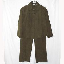 Chicos Corduroy Olive Green Pants Jacket Blazer Shirt Size 2  2.5 Large 12 14