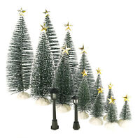 Mini Pine Tree with Snow Frost for Christmas/Village Decor 38 Pcs Accessories