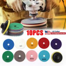10pcs 4in Wet Dry Diamond Polishing Pads Set Kit For Marble Concrete Granite Us