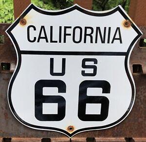 VINTAGE CALIFORNIA US U.S. ROUTE 66 GASOLINE PORCELAIN GAS HIGHWAY ROAD SIGN