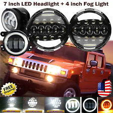 "2x 7 Inch LED Round Headlight & 2x 4"" 30W Driving Fog Lamp Kit For Hummer	H2"