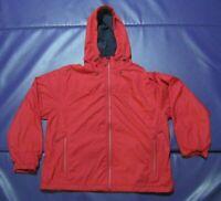 LL Bean Women's Windbreaker Jacket Red L Large Lined Raincoat Adjustable EUC