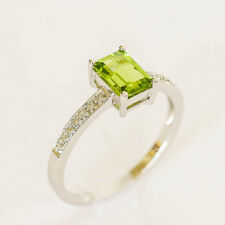 NATURAL PERIDOT RING GENUINE DIAMONDS 9K 375 WHITE GOLD SIZE P 1 ct PERIDOT NEW