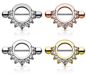 PAIR Pronged Gem Half Circle Plated 316L Steel Nipple Shields Rings Body Jewelry