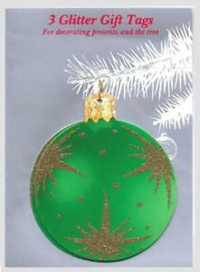 15 Glitter Bauble Xmas Gift Tags or Tree Decorations in Cello of 3 (EG)