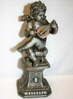 Antique Art Nouveau Spelter Sculpture Cherub Playing a Lute Figure 9in Tall