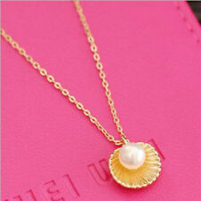 New Pearl Necklace 18 carat gold pearl shell chain   creative clavicle