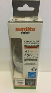 Sunlite LED Flame Tip Chandelier 5W 40W Equivalent Candelabra E12 Soft White