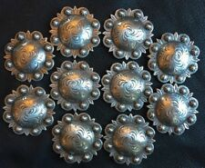 "10 Western Horse Tack Antique Berry Saddle Conchos  1-3/4"" screw back USA"