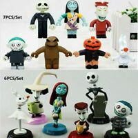 6/7PC Nightmare Before Christmas Jack Skellington Action Figure Cake Topper Toy