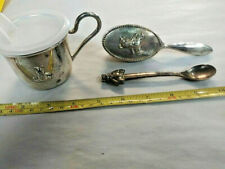 RARE  BABY SIPPY CUP w/Handle and Plastic Lid BEAR emblem, SPOON AND BRUSH