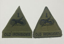 Lot of 2 US Army 1st First Armored Division AD Old Ironsides Patch Veteran Green