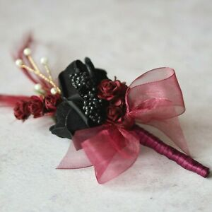 Artificial Black Rose Burgundy Feather Gold Pearled Gothic Wedding Corsage