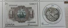 Numismàtica Billete y moneda de 1 pta.Sellos de España