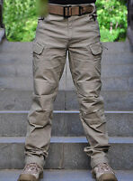 Men Tactical Pants Military Army Cargo Security Combat Hiking Hunting TrousersA