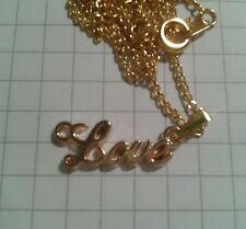 """TIBETAN GOLD PLT ALLOY """"L O V E """" PENDANT ON 18"""" PLT GOLD NECKLACE CHAIN"""