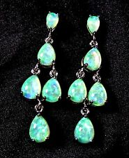 Sterling 925 Silver SF Post Earrings 8*6mm & 6*4mm Green Lab Fire Opal Cabachon