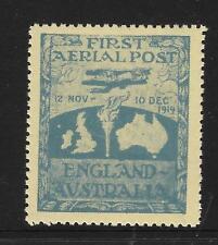 AUSTRALIA 1919 ROSS SMITH FLIGHT VIGNETTE 1 value REPRINT Cinderella MNH