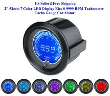 "US 2"" 52mm 7 Color LED Display Elec 0-9999 RPM Tachometer Tacho Gauge Car Motor"