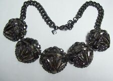 BANANA REPUBLIC Chunky Smokey BLACK Rhinestone Necklace