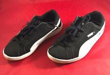 Vintage Kids Black And White Puma Tennis Shoes Size 2.5C