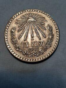 1938  MEXICIAN Silver Un Peso, Libertad, Nice coin, cap rays
