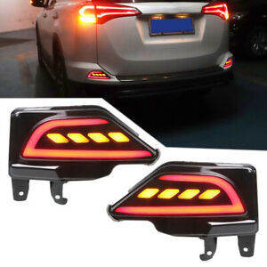 Pair Rear Bumper LED Reflector Brake Light Set Left & Right Fit for Toyota RAV4