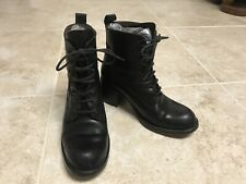 Guess Black Leather Boots, Combat, Biker, Lace Up, Women's Sz 6 1/2 , Made Spain