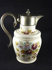Elegant Antique Edwardian Ceramic & Silver Plate Floral Jug by William Wood & Co