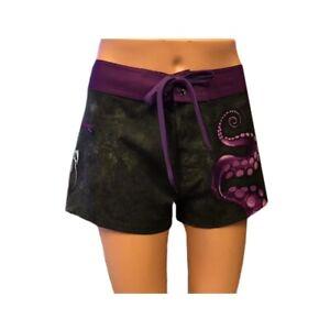 Sea Fear Ladies Women's Board Shorts Swimwear Swimsuit Black Octo