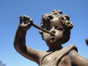 Antique bronze Putti Cherub angel on marble base statue  SIGNED