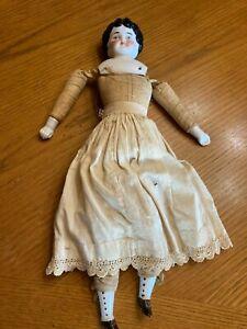 "Antique 16"" porcelain China Head  Doll Body 1900's Clothing Blue Eyes"