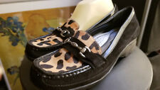 AK Anne Klein Wedge Loafer SIZE 8 Black Leopard Calf Hair Suede Leather Shoes