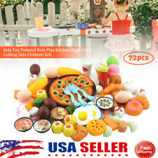 72Pcs Fruit Vegetable Food Cutting Set Kids Role Play Pretend Chef Kitchen Toy