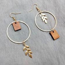 Round Gold Metal Leaves Wood Drop Earrings Ear Hook Asymmetric Jewelry