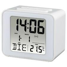 Hama White Cube Large LCD Number Digital Alarm Clock Atomic Time Auto Adjust
