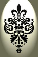 FLEUR DE LIS Designer Wall Decorative STENCIL CHIC DECOR CURTAINS CAKE #3005