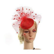 Sinamay Feather Fascinators Womens Pillbox Flower Derby Hat - Red