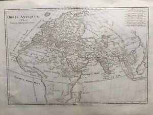 1787 Antique Map; Orbis Antiquus - map of Europe, Africa & Asia - Bonne