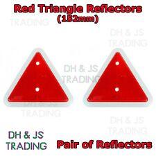 2x Red Triangular Reflectors Caravan Trailer Horse Box Cargo Triangle 152mm Pair