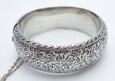 Vintage Japan Japanese Asian Decorated Sterling Silver Bangle Bracelet 20815