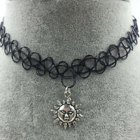 Tattoo Choker Stretch Necklace Black Retro Henna Vintage Elastic Boho 90s Gothic