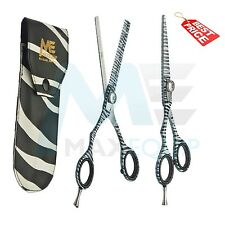 "LEFT HANDED Hairdressing HairCutting 5.5"" Scissors Set ZEBRA DESIGN + SHEATH New"