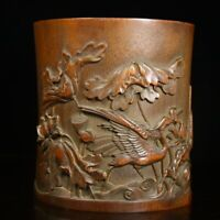 Noble Chinese old Hand-carved Crane lotus statue bamboo Brush pot pencil vase