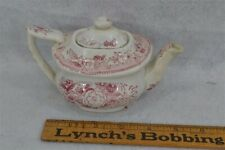 teapot toy doll miniature porcelain red transfer children 18th 19thc antique